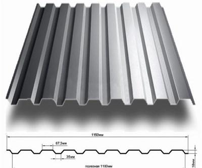 Профнастил оцинкованный СП20 (0,45) 1,15 х 6 м - фото 4516
