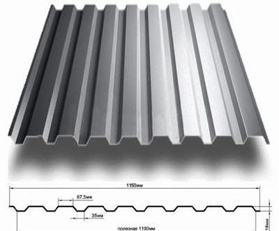 Профнастил оцинкованный СП20 (0,45)  1,15 х 3 м - фото 4553