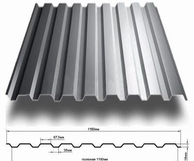 Профнастил оцинкованный НС20 (0,45)  1,15 х 2 м - фото 4554