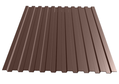 Профнастил окрашенный С21    шоколад  1,055 х 6м (0,45мм) - фото 5133